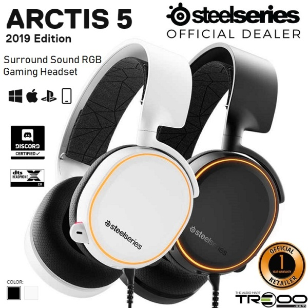 SteelSeries Arctis 5 (2019 Edition) 7.1 Surround Sound RGB Over-Ear Gaming Headset with Retractable Boom Microphone