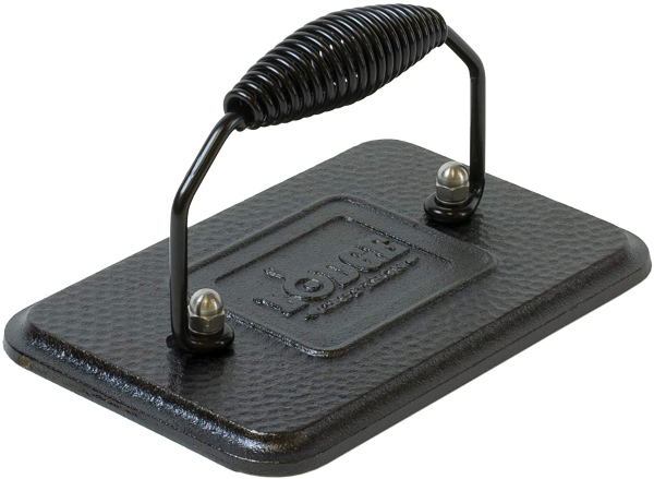 Lodge Pre-Seasoned Cast Iron Grill Press With Cool-grip Spiral Handle, 4.5 inch X 6.75 inch, Black Singapore