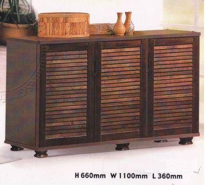(FurnitureSG) Wooden 3 Doors Shoe Cabinet