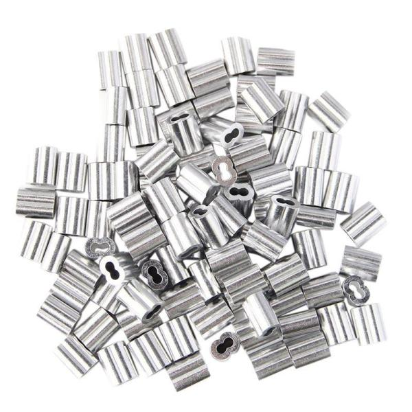 100pcs Aluminum Crimping Loop Sleeve for 3mm Diameter Wire Rope and Cable