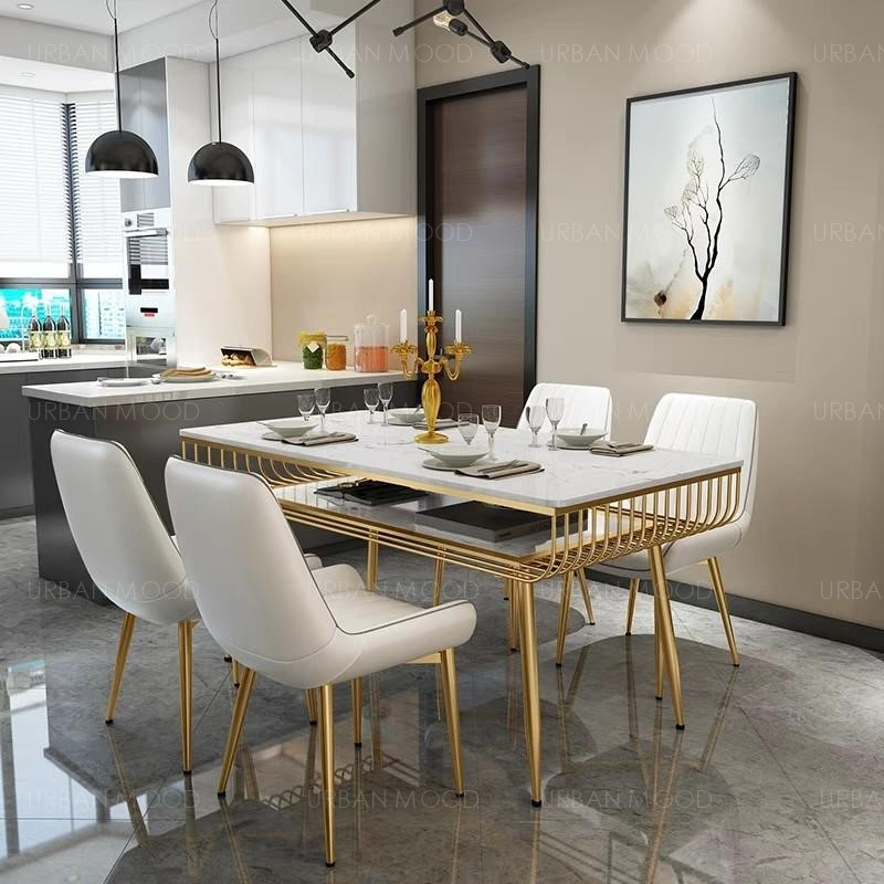 CLAIRE Modern Marble Top Gold Frame Dining Table