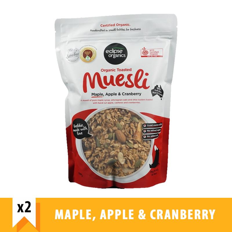 Eclipse Organics Toasted Muesli Maple, Apple & Cranberry (450g X 2) By Forever Young Sg.
