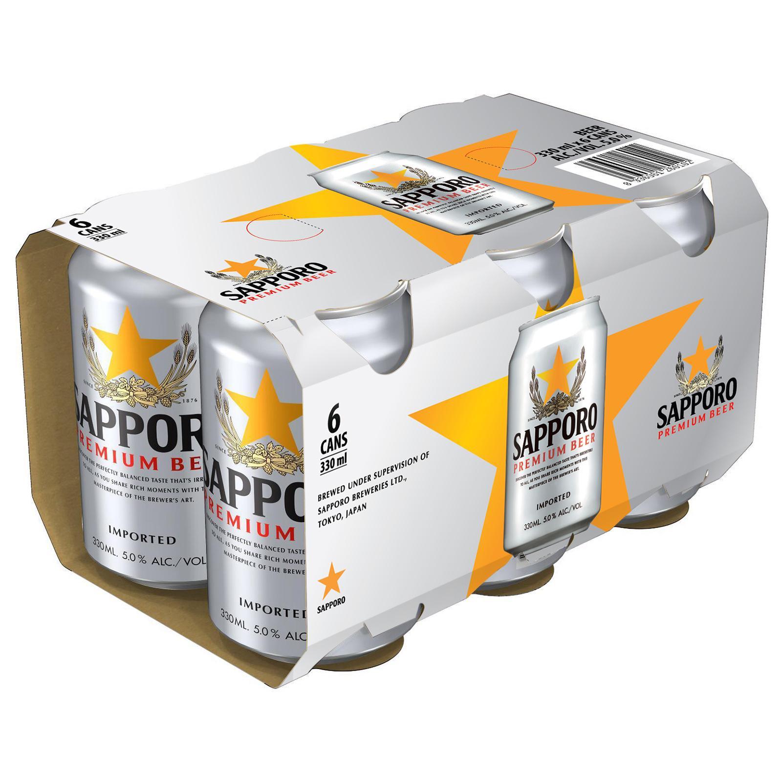 Sapporo Premium Beer 5% 6X330ML