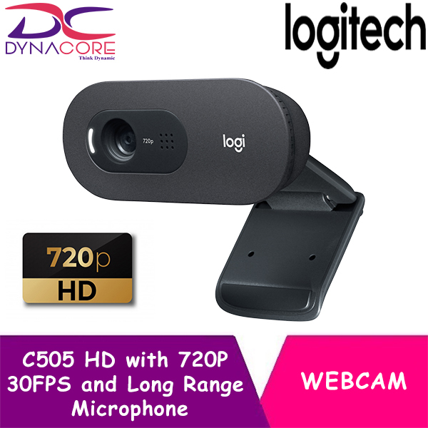 DYNACORE - Logitech C505 HD Webcam with 720P   30FPS and Long Range Microphone