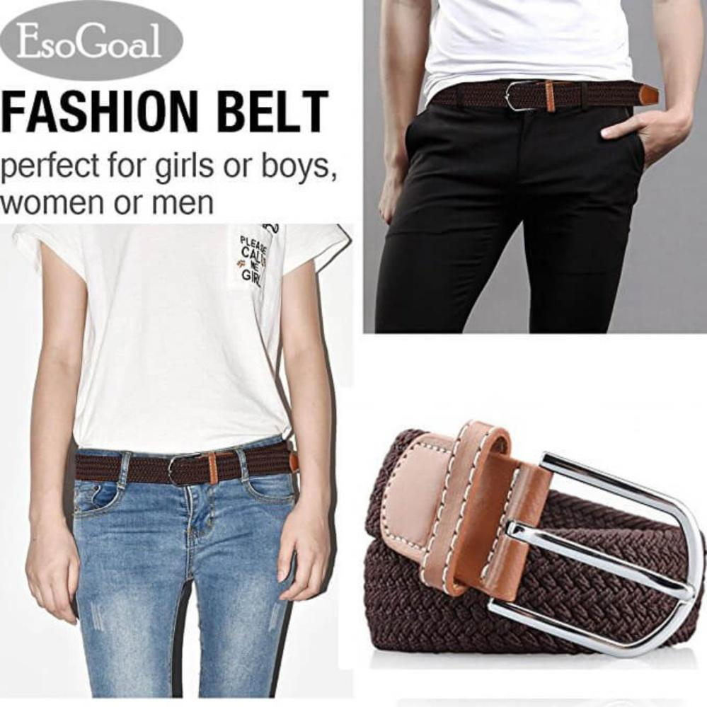 Esogoal Braided Stretch Belt Canvas Fabric Woven Elastic Casual Belt For Men And Women By Esogoal.