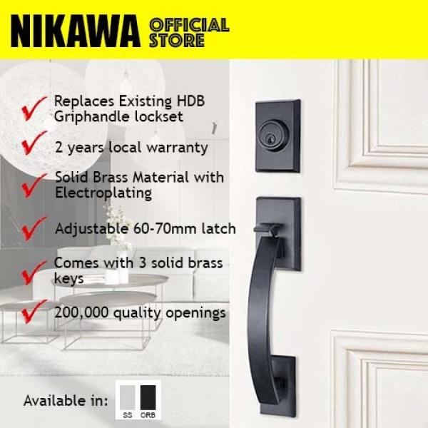 NIKAWA 7381 Main Door Entry Grip Handleset HDB lock, BTO lock