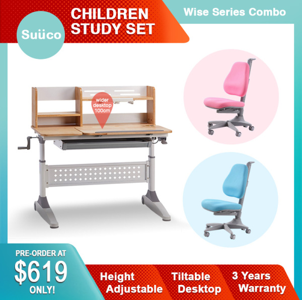 Suuco Wise Series Combo | Study Table For Kids | Study Desk for Children | Height Adjustable Study Table for Children | Height Adjustable Study Desk for Kids