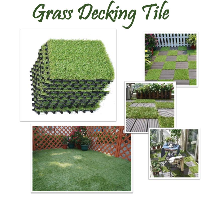 [GRASS TILES] DIY Decking Wood Stone Tiles Artificial Turf Grass Installati