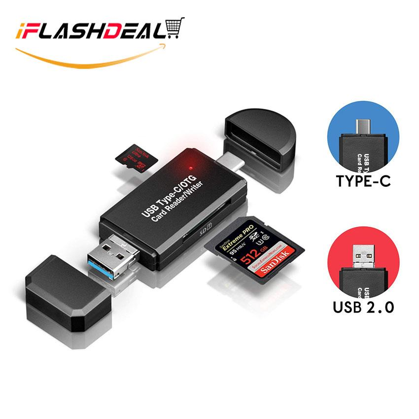 Iflashdeal Sd/micro Sd Card Reader Writer Usb 3.0 Memory Card Reader Otg Adapter Viewer Micro Sd/tf Compact Flash Card Reader With 2 In 1 Usb/type C By Iflashdeal.