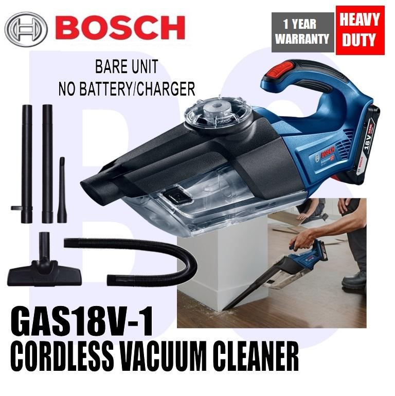 BANSOON BOSCH Cordless Vacuum Cleaner GAS 18V-1. comes with floor nozzle, crevice nozzle, suction tubes, flexible extension tube. 0.7ltr container volume