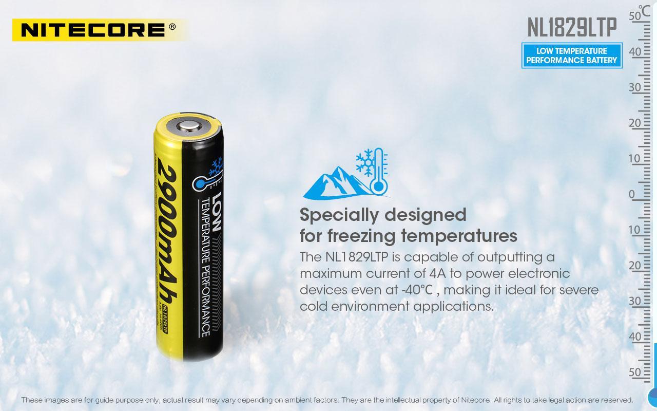 Nitecore NL1829LTP 2900mAh -40°C Low Temperature 18650 Rechargeable Battery