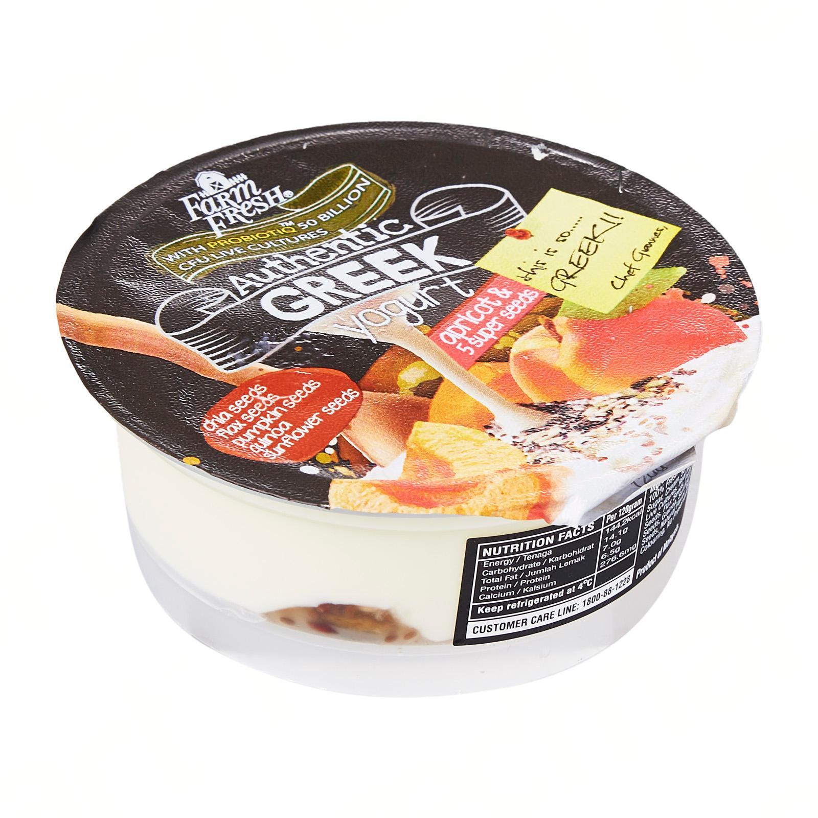 Farm Fresh Greek Yogurt Apricot and 5 Super Seeds 120g