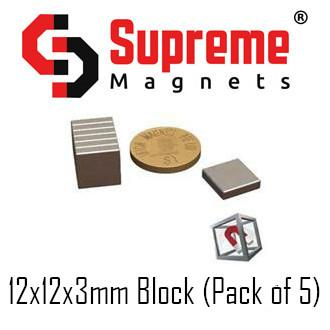 N50 Super Strong Powerful Neodymium Magnets Singapore 12mm x 12mm x 3mm block (pack of 5) LTS-SM-NB12123 Supreme Magnets