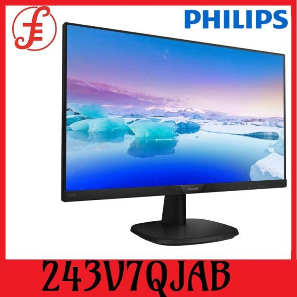 Philips 243V7QJAB V-Line 23.8  243V7QJAB Full HD 1920x1080 IPS LED Monitor VGA DisplayPort  HDMI Speaker VESA Mount LowBlue FlickerFree EasyRead 3 side bezel-less  (243V7QJAB)