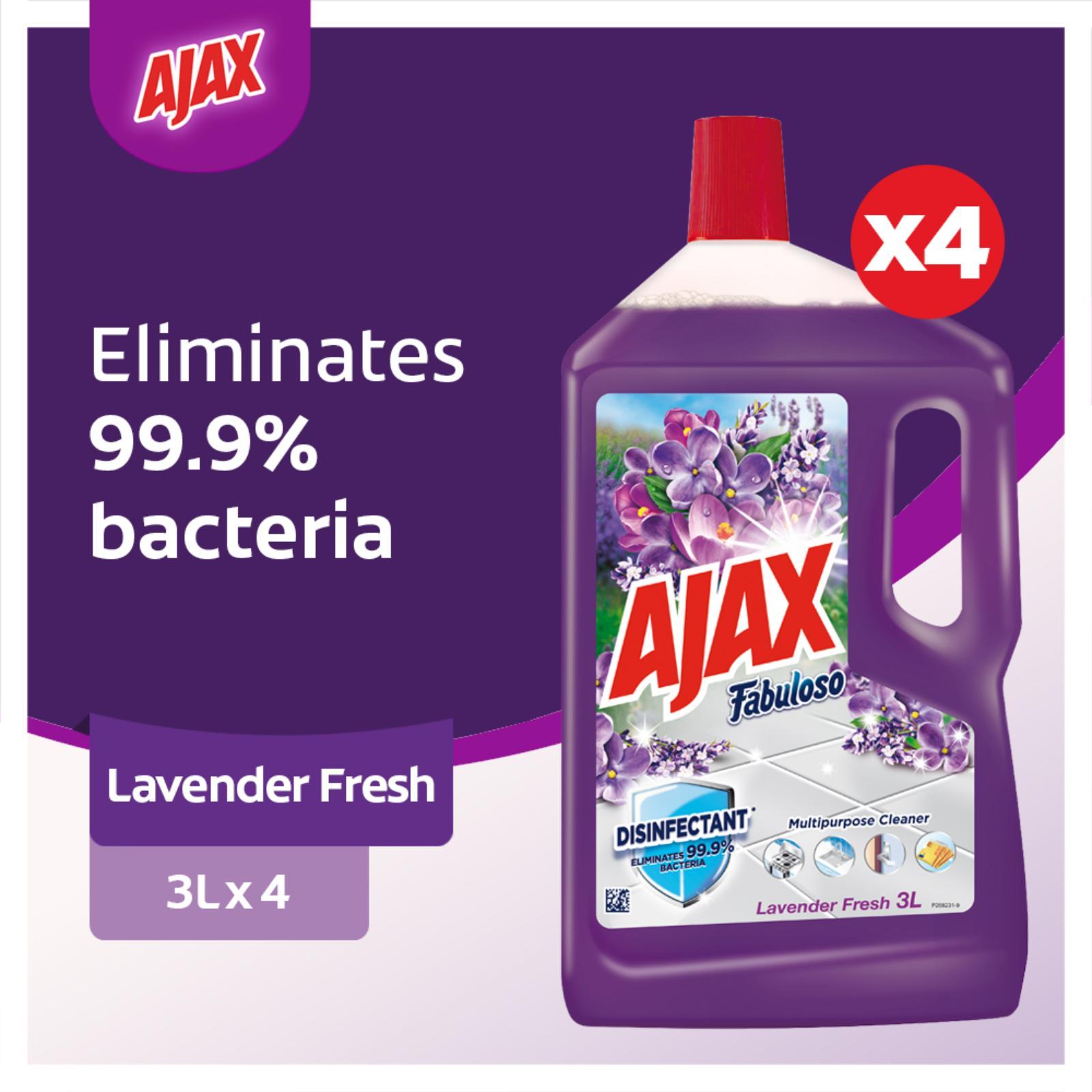 Ajax Fabuloso Lavender Multi Purpose Floor Cleaner 3L [Case of 4] Value Deal