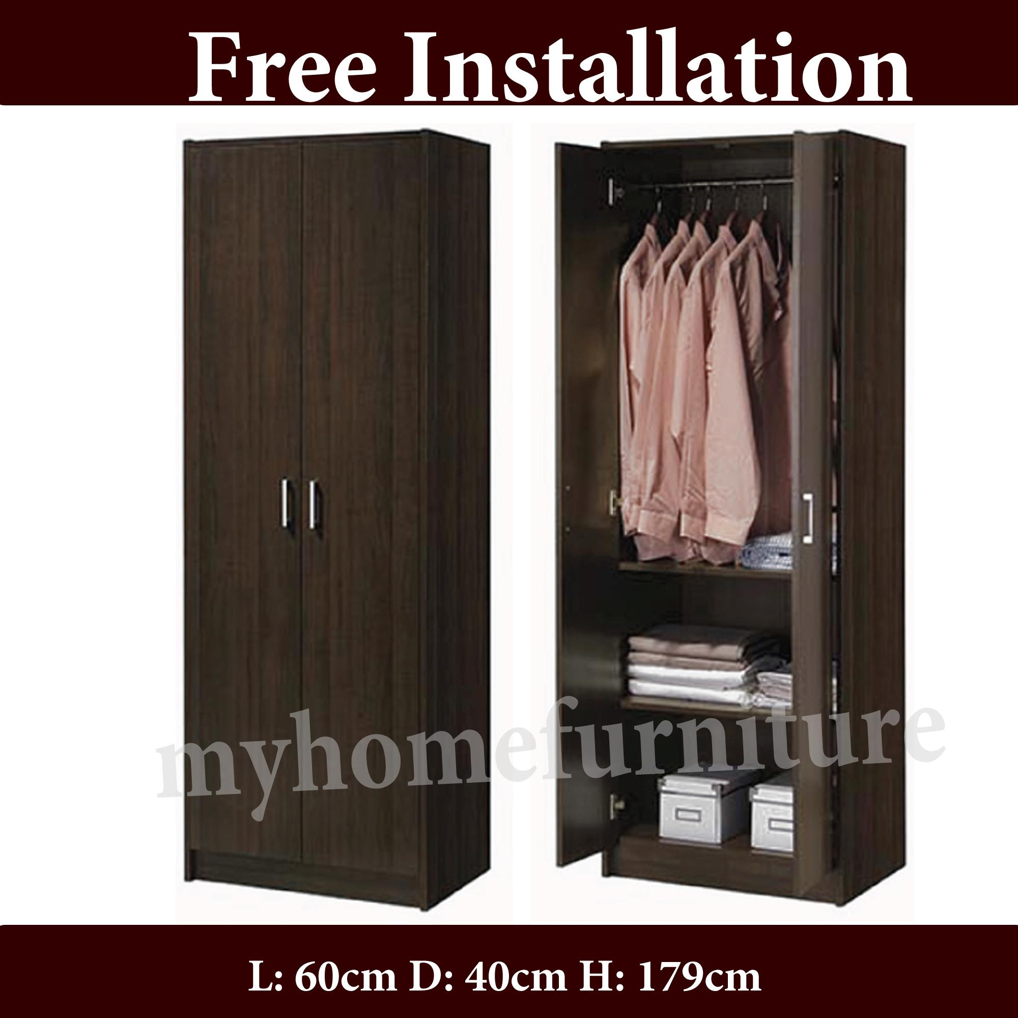 Jean 2 Doors Wardrobe With Shelfs and Hanging Rod (Free Delivery and Installation)