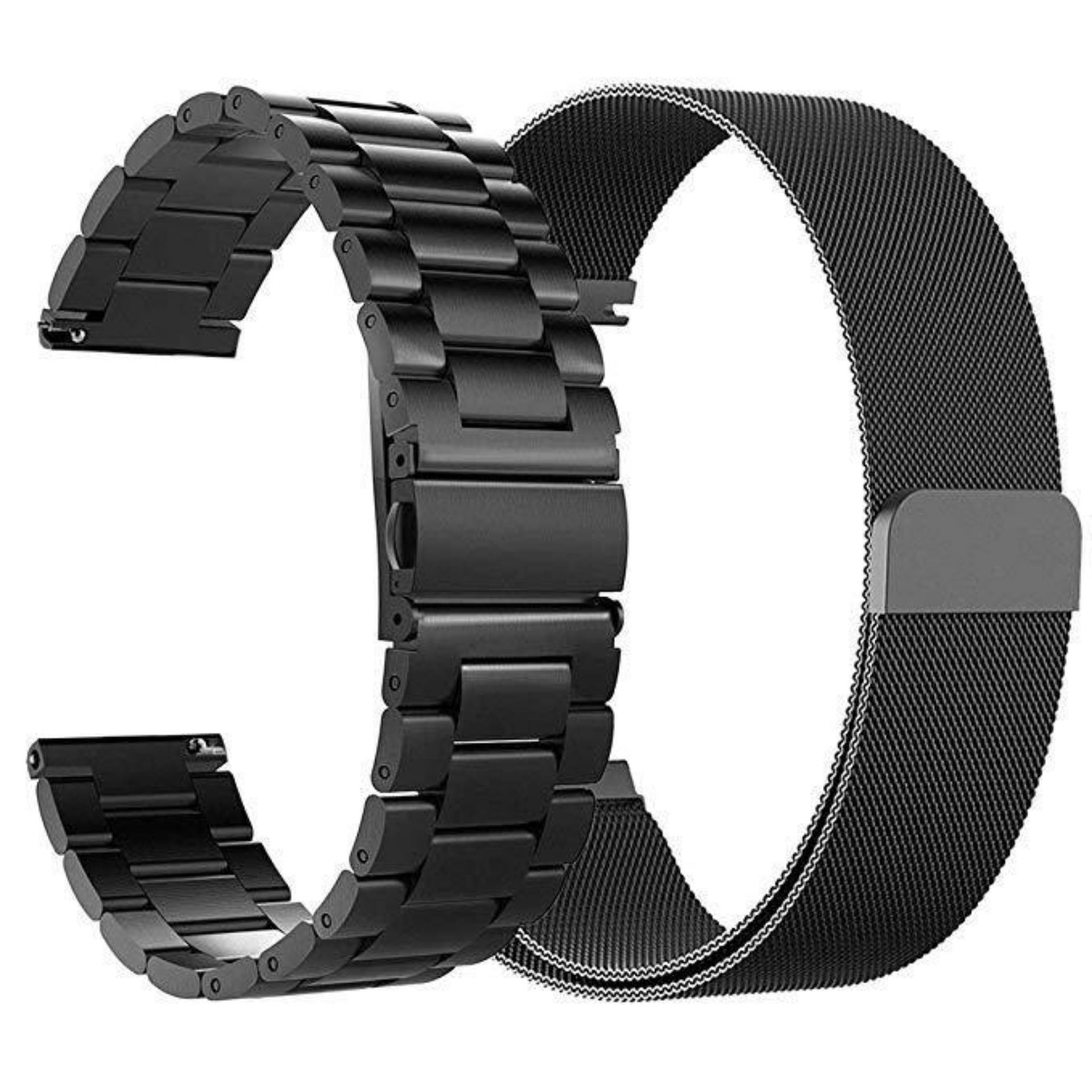22mm Solid Stainless Steel Metal Replacement Smart Watch Strap+Milanese Loop For Samsung Galaxy Watch