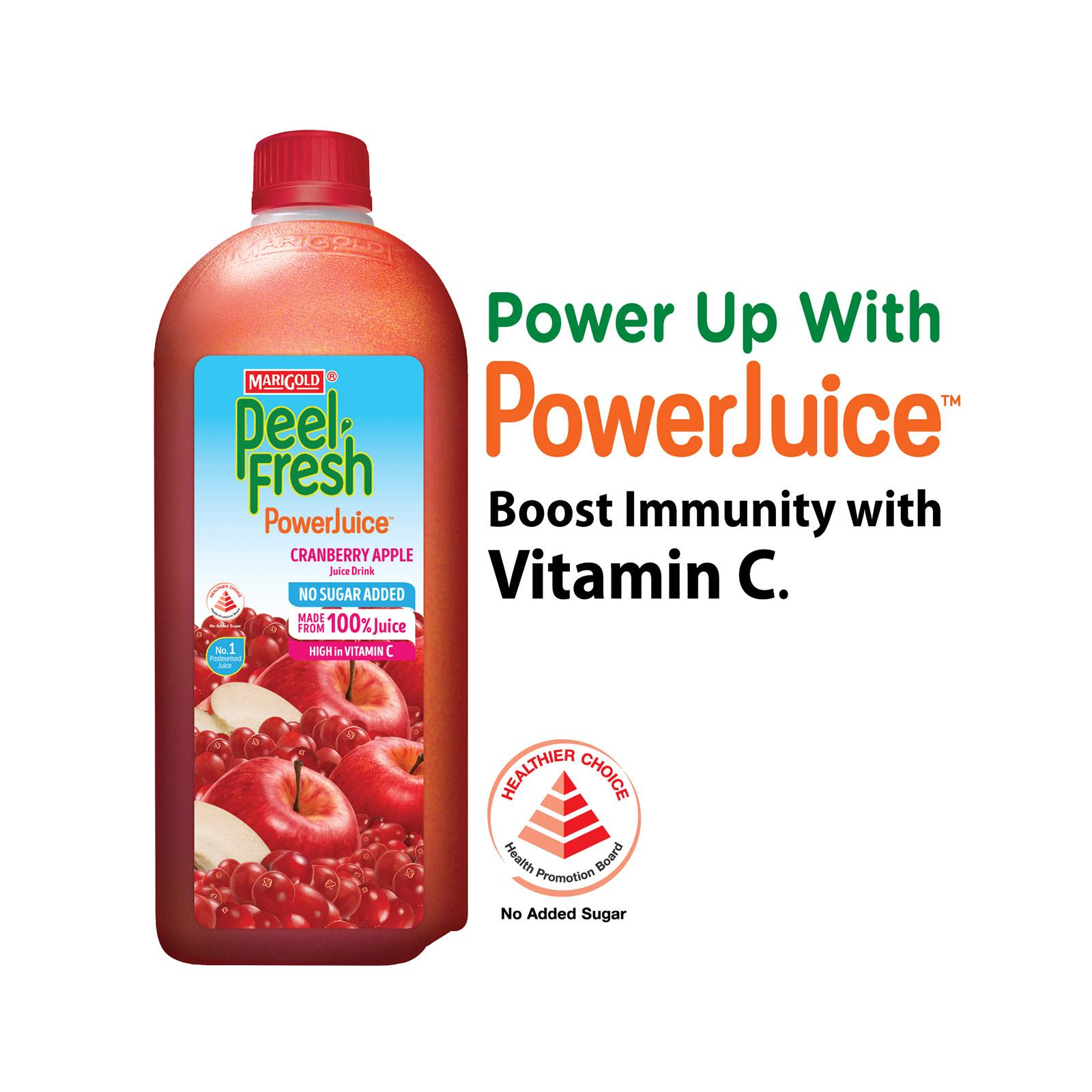 MARIGOLD PEEL FRESH Cranberry Mixed Apple Juice Drink - No Sugar Added 2L