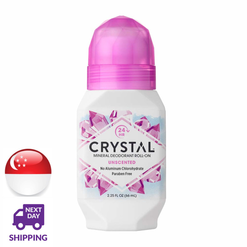 Buy CRYSTAL Mineral Deodorant Roll-On Unscented Body Deodorant 24-Hour Odor Protection (66 ml) Singapore