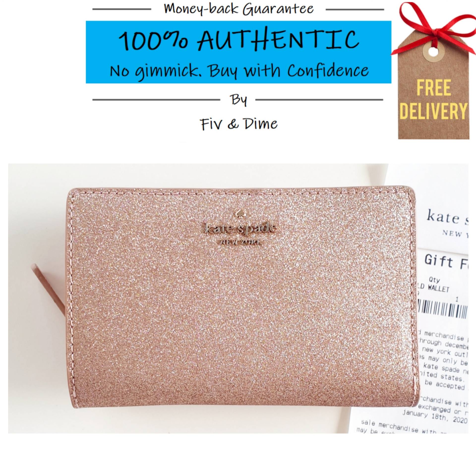 Kate Spade Joeley Glitter Medium Bifold Wallet Rose Gold (Comes with Kate Spade Gift Receipt)