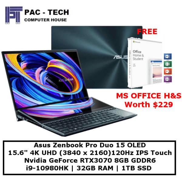 [Free MS Office Home and Student]Asus Zenbook Pro Duo 15 OLED UX582LR-H2002T | i9-10980HK | 15.6 4K UHD 120Hz IPS TS | RTX3070 | 1TB SSD | 32GB RAM | Win 10 Home