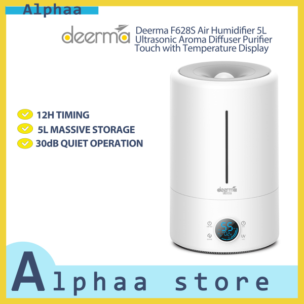 Deerma F628S Air Humidifier 5L Ultrasonic Aroma Diffuser Purifier Touch with Temperature Display, White Singapore