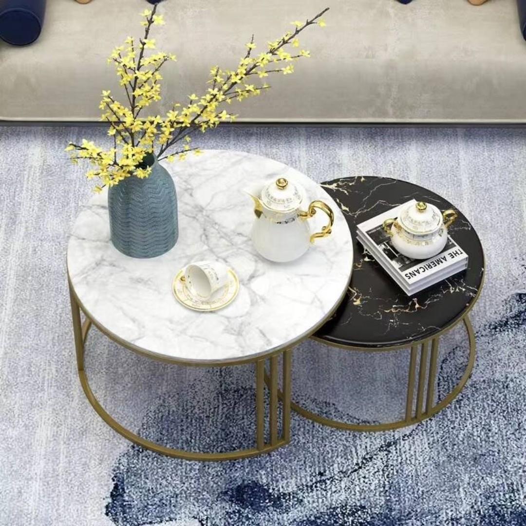 TMDT 02 Marble Coffee Table(L40*W40*H40cm,black top+gold leg-full circle)