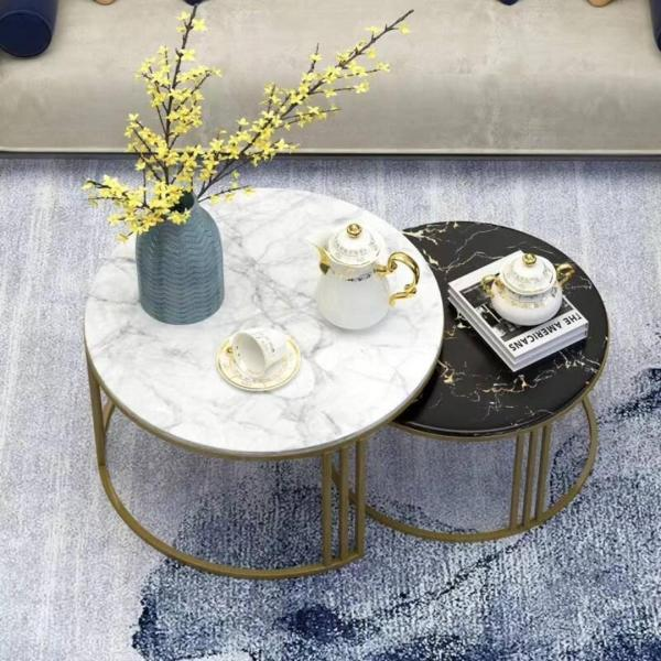 TMDT 02 Marble Coffee Table(L60*W60*H45cm,white top+gold leg-half circle) one table only!