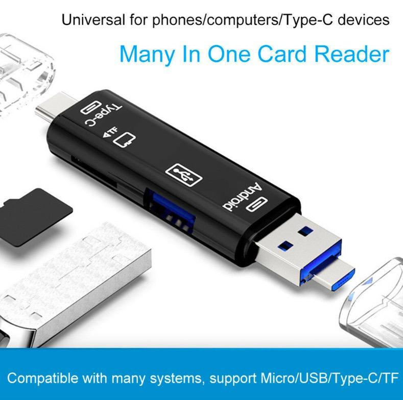 [SG In-Stock] 3-in-1 Multi (USB / Type C / Micro USB) Memory Card Reader OTG MicroSD Micro SD Thumb drive Adapter Laptop Phones Tablets