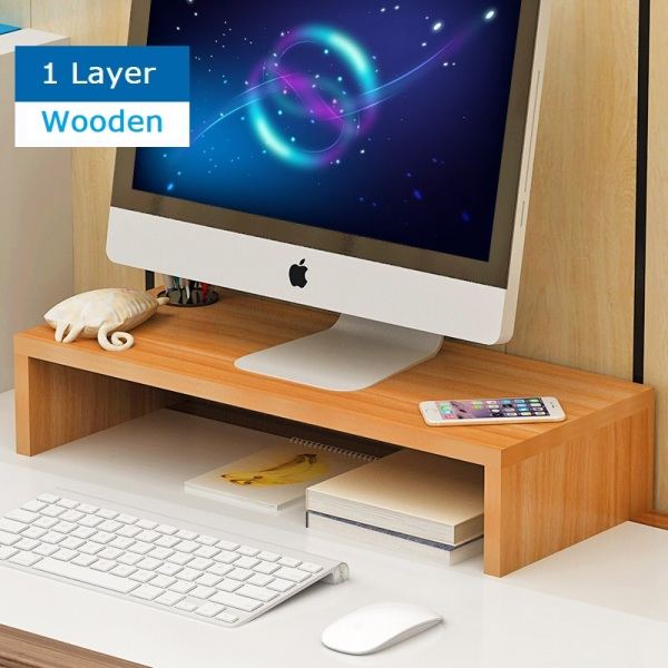 Wooden Monitor Riser Ergonomic Stand / Laptop Stand / Keyboard Storage / Posture Correction