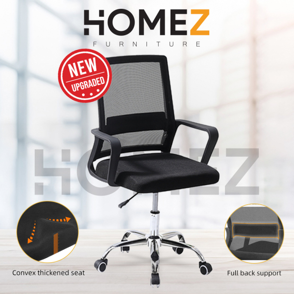 Homez Mesh Office Chair with Ergonomic Design & Chrome Leg - Black-HMZ-OC-MB-287