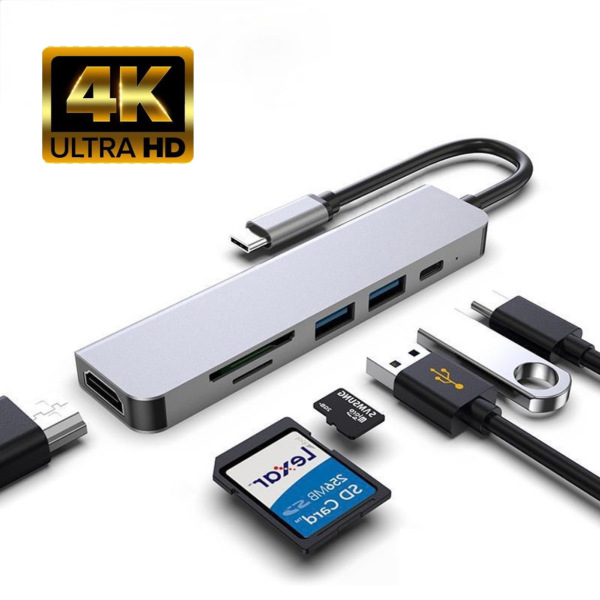 [SG SELLER] JWG USB C Hub, 6-in-1 USB C to HDMI Adapter with SD/MicroSD Card Reader, Type C PD Port and 2 USB 3.0 Ports