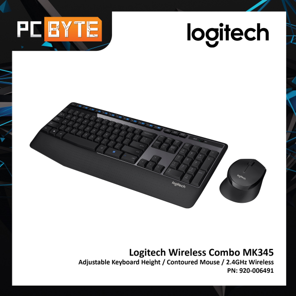 Logitech MK345 Wireless Combo - Full Sized Keyboard and Contoured Right-Handed Mouse Singapore