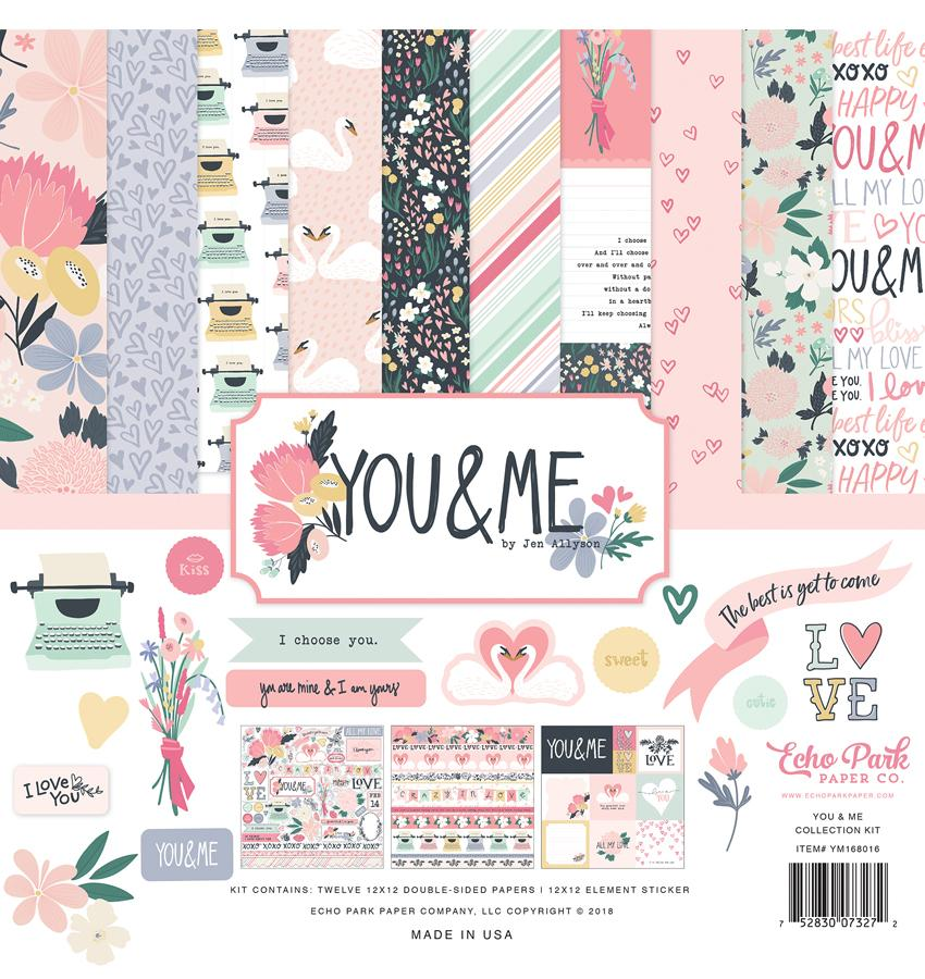 You And Me Valentine Scrapbooking Collection Kit, 12x12 Patterned Paper And Sticker Sheet By Craftforher.
