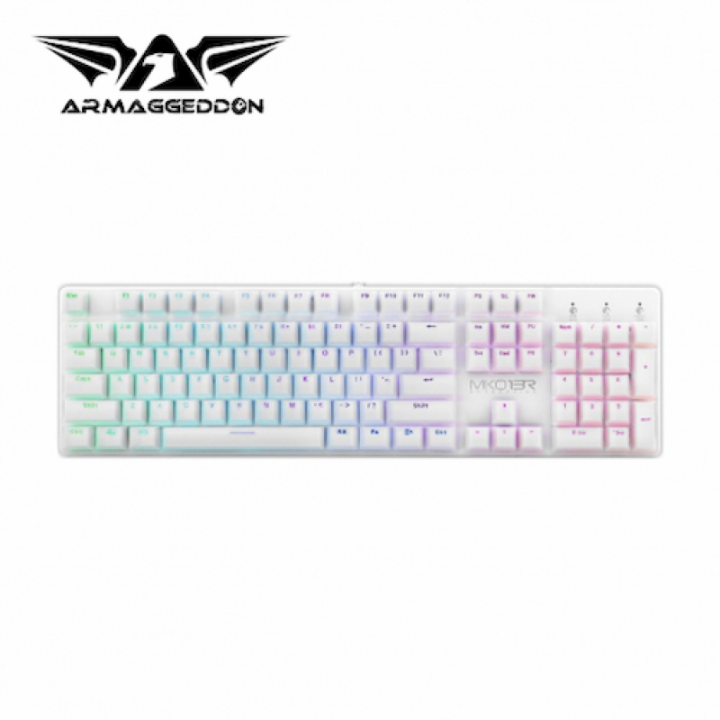 Armaggeddon MKO-13R Customizable Full Size Programmable RGB Optical Gaming Mechanical Keyboard- White Singapore