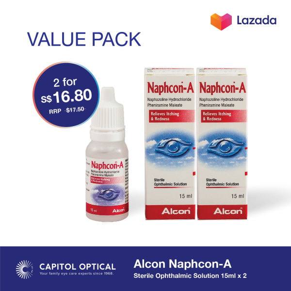 Buy Alcon Naphcon-A Sterile Ophthalmic Solution 15ml x 2 Singapore