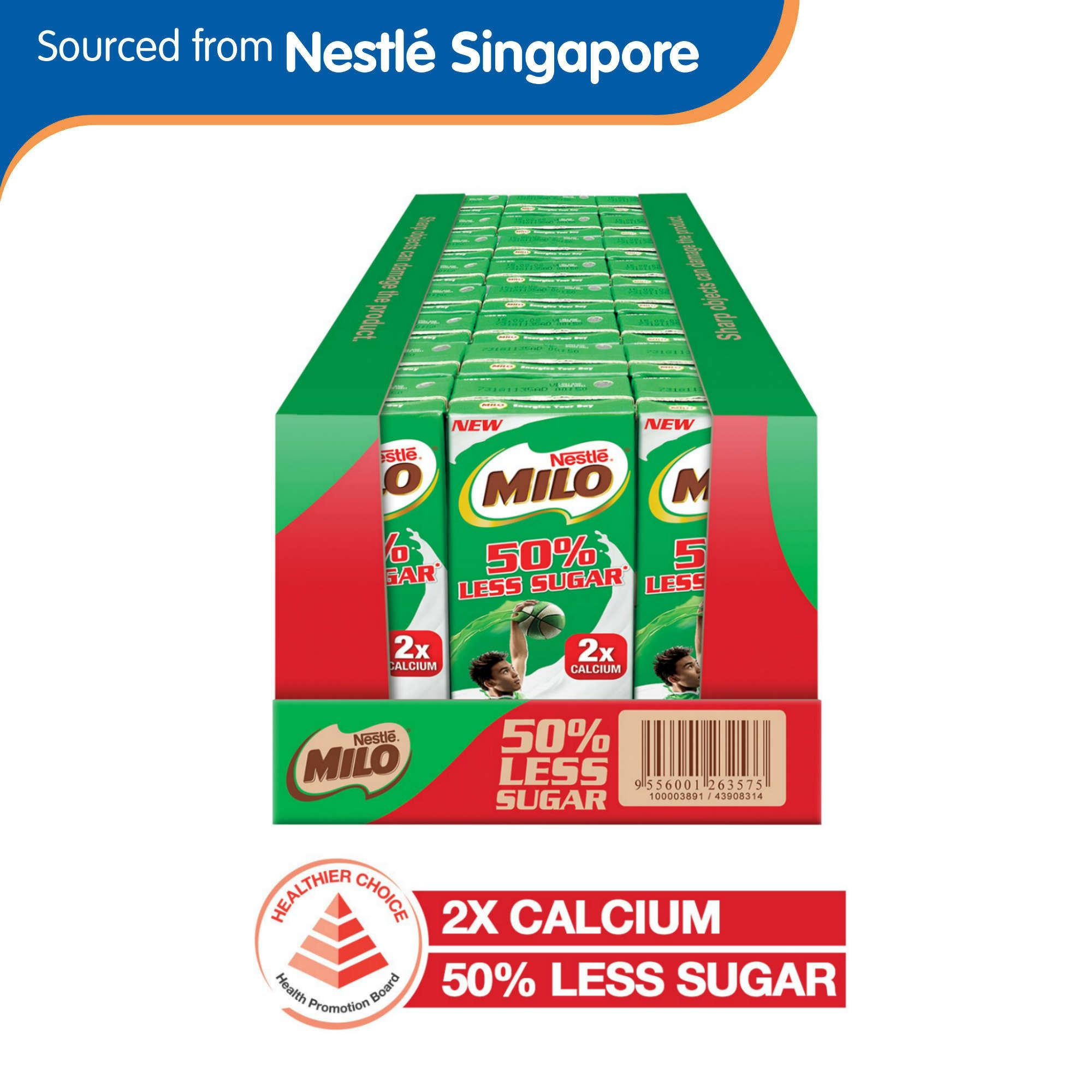(24 Packets/1 Carton) Milo Uht 50% Less Sugar Chocolate Malted Milk 24x200ml By Nestle Official Store.