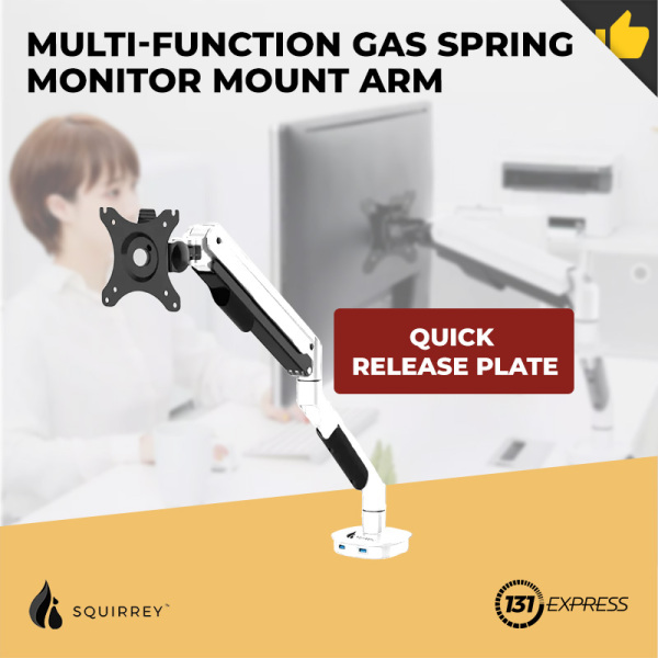 """Xiaomi Squirrey Multi-Function Gas Spring Monitor Mount Arm MMA560 [ Dual USB port, Quick Release Plate, 360° Swivel, Tiltable, Multiple Adjustment, Retractable, Flexible, Aluminium, Durable, Sturdy, Suitable 17""""-32"""" Display, Easy Install, Workplace ]"""