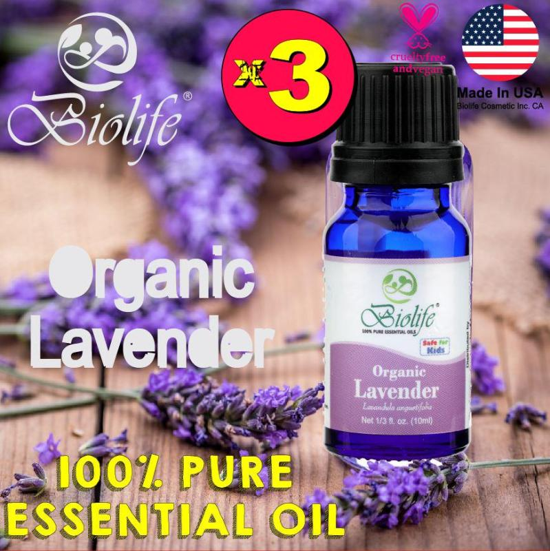 Buy (Bundle of 3 Bottles) Biolife Organic Lavender, 100% Pure and Natural Organic Essential Oil (Made In USA), 10ml Bottle Singapore