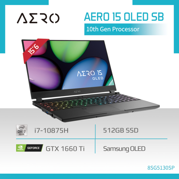 GIGABYTE AERO 15 OLED SB (i7-10875H/16GB SAMSUNG DDR4 2933 (8GBx2)/GeForce GTX 1660 Ti GDDR6 6GB/512GB M.2 PCIE SSD/15.6inch Thin Bezel Samsung 4K UHD AMOLED/WINDOWS 10 PROFESSIONAL) [Ships 2-5 days]