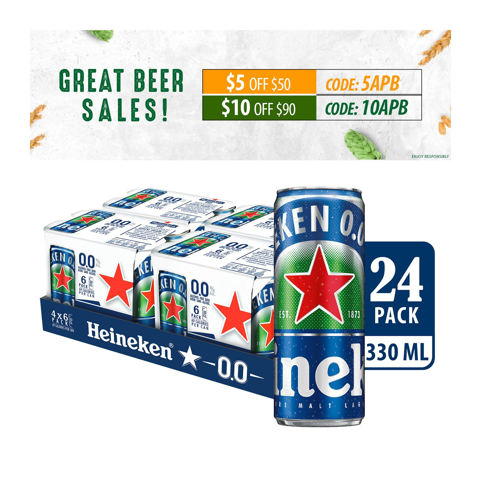 Heineken 0.0% Zero Beer Can 24x330ml