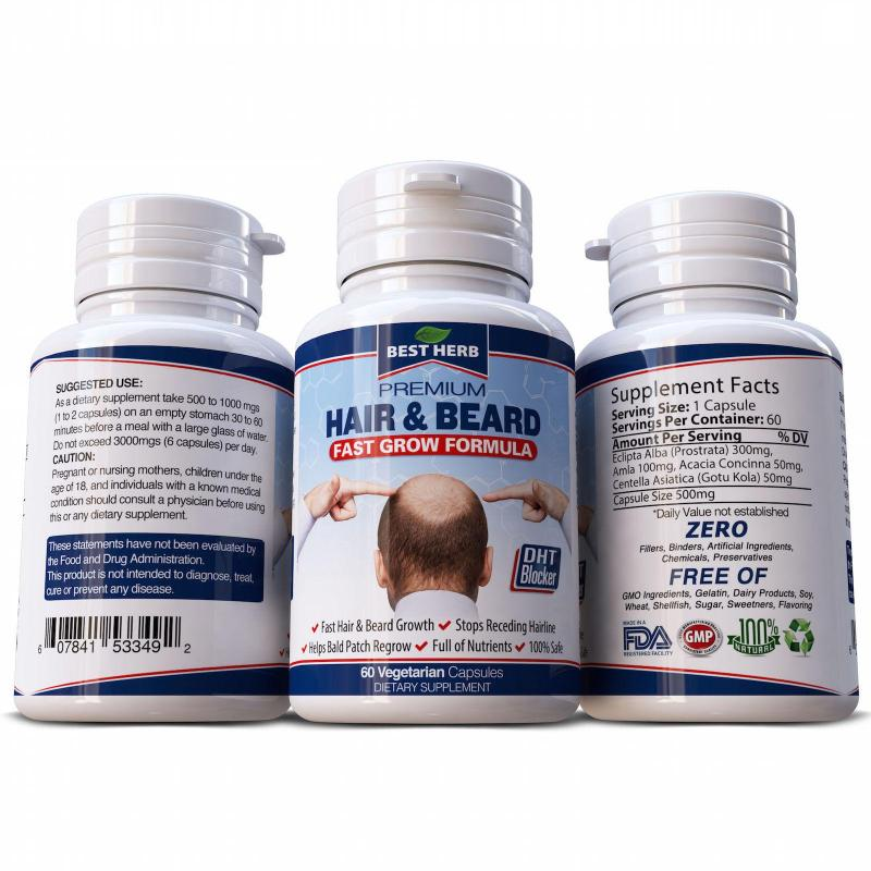 Buy 1 BOTTLE - DHT BLOCKER HAIR BEARD LOSS CAPSULES MENS STOP BALDNESS CURE GROW RECEDING PILLS Singapore