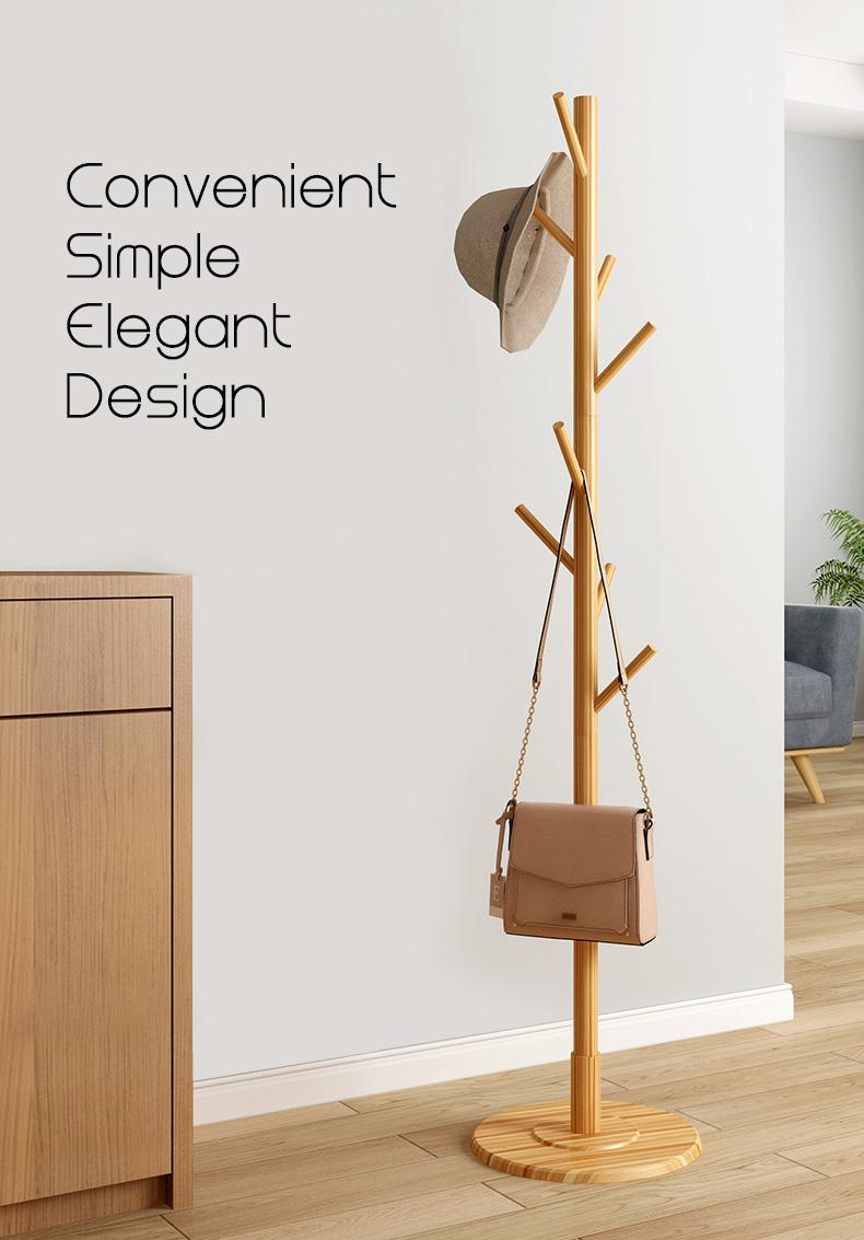 FLQD Floor Standing Coat Rack [Delivery Within 3 Days] Hat Clothes Bag Pole wooden simple simplistic stylish modern minimalist trendy rounded stand home owner hdb condo walnut
