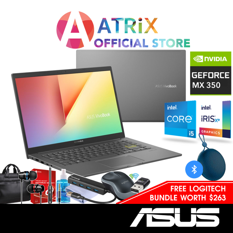【Free MS Office】ASUS VivoBook 14 | K413EP-EB189T (Nvidia MX330) | 14 FHD IPS 1.4Kg | i5-1135G7 | 8GB DDR4 | 512GB PCIe SSD | MX330 Graphics | Win10 Home | 2Y Asus Warranty