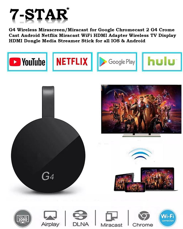 Latest 2019 G4 Wireless Mirascreen/Miracast for Google Chromecast 2 G4  Chrome Cast Android Netflix Miracast WiFi HDMI Adapter Wireless TV Display  HDMI