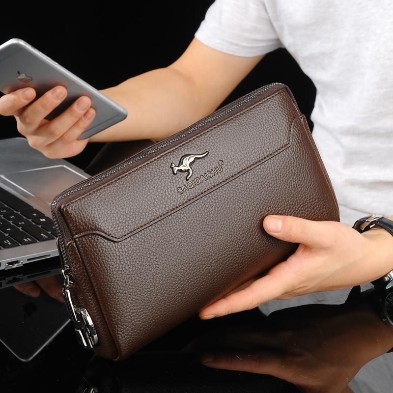 Mens Handbag 2019 New Style Fashion Clutch Bag Leather Soft Leather Wallet Business Briefcase Large Capacity Leisure Clutch