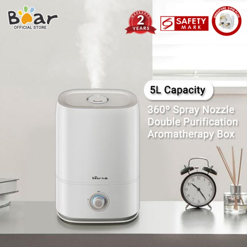 Bear Air Humidifier JSQ-C50Q1 Air Purifier Household Office 5L Large Capacity Desktop  Dual Purification Aroma Diffuser(Singapore 3-Pin Plug) Singapore
