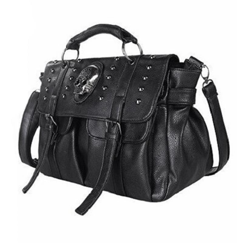 Shoulder Bag Lady Fashion Bag Designer Punk Skull Rivet Bag All-Match Womens Handbag Black Big Tote Bag