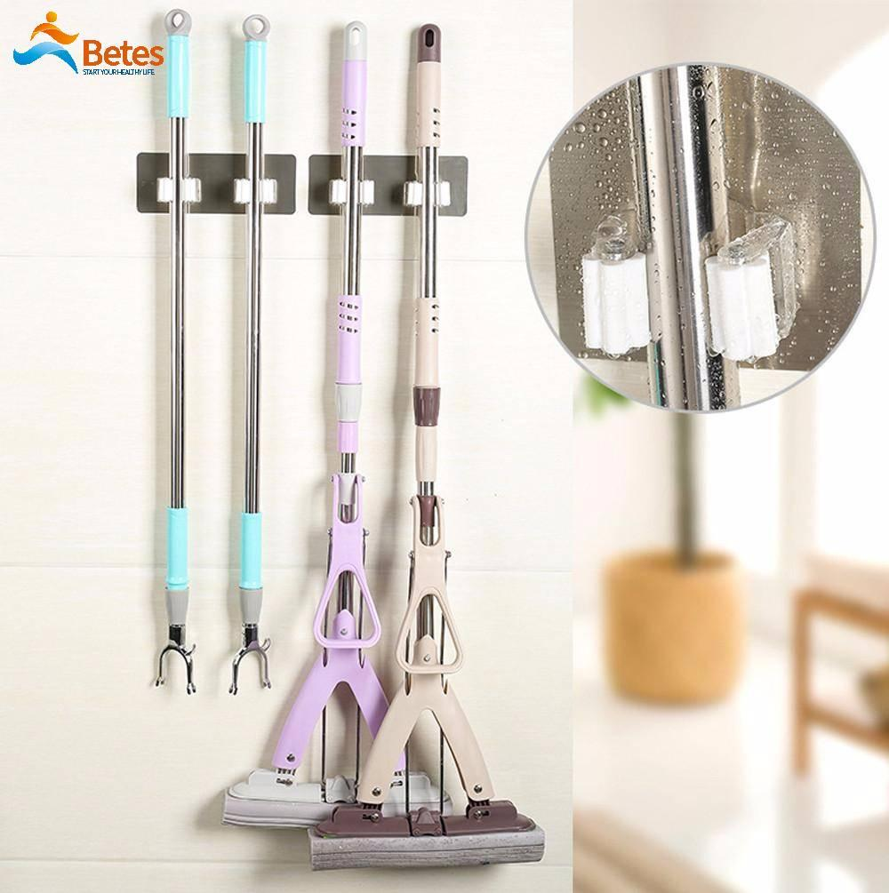 Betes Space-saving and Strong Self-Adhensive Seamless Stickers Mop Rack Kitchen Broom Rack Kitchen Bathroom Hooks
