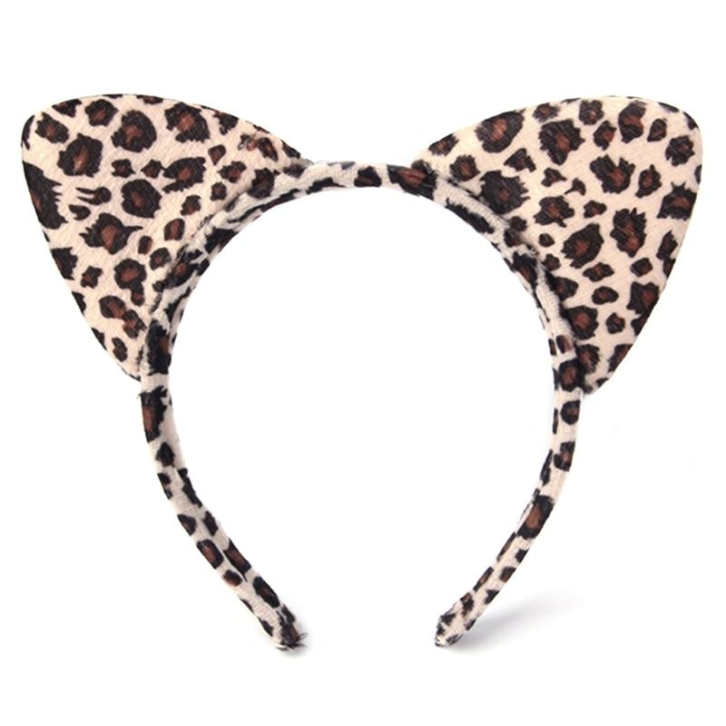 Girl Kids Plush Tiger Leopard Cat Ear Hairband Head Band For Cosplay Party Fancy